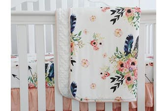 (Feather Floral) - Sahaler Boho Floral Baby Minky Blanket Baby Crib Comforter Toddle Quilt 90cm x 110cm (Feather Floral)