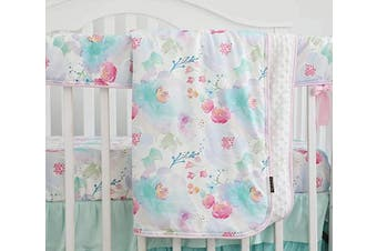 (Pink Purple Floral) - Sahaler Boho Floral Baby Minky Blanket Baby Girl Crib Comforter Toddle Quilt 90cm x 110cm (Pink Purple Floral)