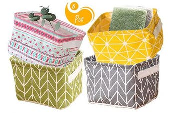 (1Yellow+1Green+1Gray+1Pink) - AARainbow Storage Basket Bins Canvas Mini Storage Cubes Storage Basket for Makeup, Baby Toys Liners, Books Nursery Storage Baskets with Handles for Shelves & Desks (1Yellow+1Green+1Gray+1Pink)