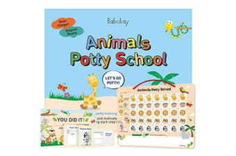 (Animal Theme) - Babebay Potty Training Chart for Toddlers - Fun Animal Design - Magnetic Sticker Chart, Potty Training Reward Chart for Boys and Girls, Certificate, 3 Instruction Steps, 35 Magnetic Stickers