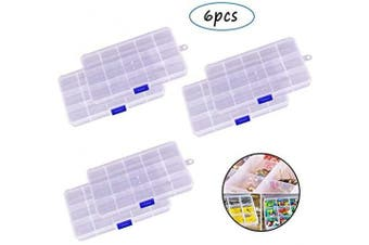 6Pack Plastic Crafts Storage Boxes with Adjustable Dividers,Jewellery Organiser Container with 15 Grids for Beads Earrings Rings,Clear