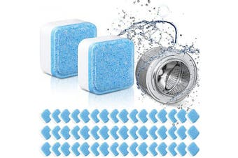 50 Pieces Solid Washing Machine Cleaner Effervescent Tablet Washer Cleaner Deep Cleaning Remover Decontamination Cleaning Detergent with Triple Decontamination for Bath Room Kitchen
