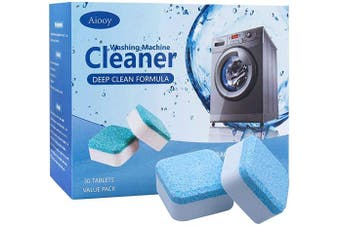 Solid Washing Machine Cleaner, Effervescent Tablet Washer Cleaner, Deep Cleaning Remover with Triple Decontamination, for Front Load and Top Load Washers, 30 PCS