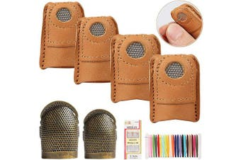 4 PCS Leather Sewing Thimble Finger Protector with 2PCS Metal Copper Sewing Thimble Adjustable for Sewing Craft Accessories DIY Sewing Tools