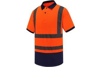 (Large, Orange) - Men's Polo Shirts Hi Vis High Viz Visibility Short Sleeve Safety Work-wear Shirt (L, Orange)