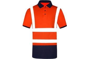 (X-Large, Orange) - Men's Polo Shirts Hi Vis High Viz Visibility Short Sleeve Safety Work-wear Shirt (XL, Orange)