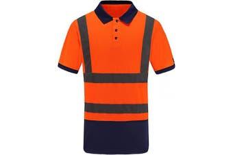 (Medium, Orange) - Men's Polo Shirts Hi Vis High Viz Visibility Short Sleeve Safety Work-wear Shirt (M, Orange)