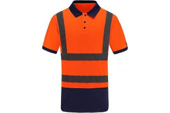 (Small, Orange) - Men's Polo Shirts Hi Vis High Viz Visibility Short Sleeve Safety Work-wear Shirt (S, Orange)