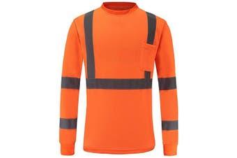 (Medium, Orange) - High Visibility Safety long sleeve shirt (L, Orange)