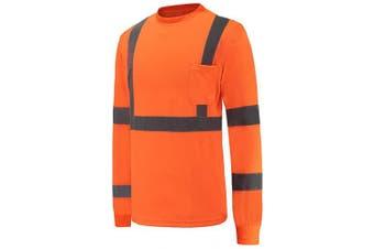(XX-Large, Orange) - High Visibility Safety long sleeve shirt (2XL, orange)