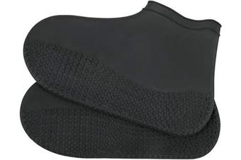 (M (for women), Thick Black) - Silicone Shoe Covers, Waterproof Overshoes Reusable Slip Resistant Rain Shoe Cases for Men Women (M (for women), Thick Black)