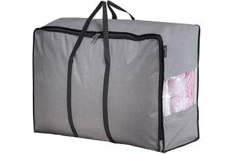 (Grey) - MISSLO Water Resistant Thick Over Size Storage Bag, Folding Organiser Bag, Under Bed Storage, College Carrying Bag for Bedding Comforters, Blanket, Clothes (Grey)