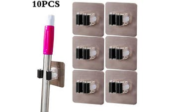 10Pcs Mop Broom Holder Organiser, Self Adhesive Wall Mounted Mop Grippers, Reusable No Drilling Super Anti-Slip Storage Rack for Your Home, Kitchen and Wardrobe