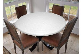 (Lg Round Elastic, Quilted - White) - Covers For The Home Deluxe Elastic Edged Flannel Backed Vinyl Fitted Table Pad - Quilted White Pattern - Large Round - Fits Tables up to 110cm - 140cm Diameter