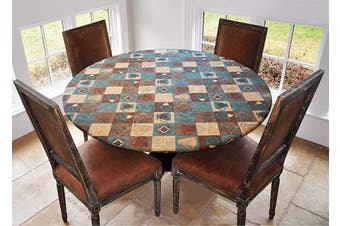 """Elastic Edged Flannel Backed Vinyl Fitted Table Cover - GLOBAL COFFEE Pattern - Large Round - Fits tables up to 110cm - 58"""" Diameter"""