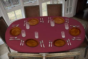 (Oblong Elastic, Basketweave - Red) - Covers For The Home Deluxe Elastic Edged Flannel Backed Vinyl Fitted Table Cover - Basketweave (Red) Pattern - Oblong/Oval - Fits Tables up to 120cm W x 170cm L