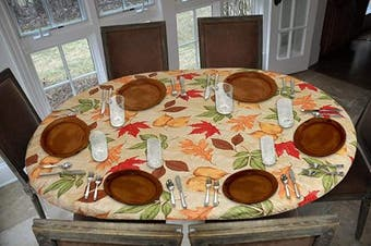 Covers For The Home Deluxe Elastic Edged Flannel Backed Vinyl Fitted Table Cover - All-Over Leaves Pattern - Oblong/Oval - Fits Tables up to 120cm W x 170cm L