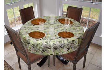 (180cm  Round Drop, Fern) - Covers For The Home Deluxe Stitched Edged Flannel Backed Vinyl Drop Tablecloth - Fern Pattern - 180cm Round