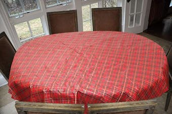 Covers For The Home Deluxe Stitched Edged Flannel Backed Vinyl Drop Tablecloth - Christmas Plaid (Red) Pattern - 150cm x 230cm - Oval