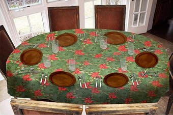 Covers For The Home Deluxe Stitched Edged Flannel Backed Vinyl Drop Tablecloth - Holly Pattern - 140cm x 180cm - Oval
