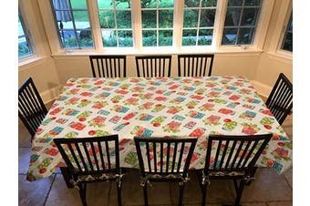 Covers For The Home Deluxe Stitched Edged Flannel Backed Vinyl Drop Tablecloth - Garden to Table Pattern - 150cm x 300cm - Oblong