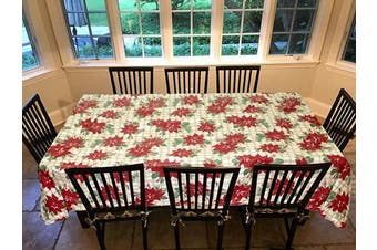 Covers For The Home Deluxe Stitched Edged Flannel Backed Vinyl Drop Tablecloth - Christmas Flower Pattern - 150cm x 230cm - Oblong