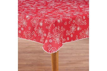 (150cm  x 230cm  Drop, Tonal Line Work - Red) - Covers For The Home Deluxe Stitched Edged Flannel Backed Vinyl Drop Tablecloth - Tonal Line Work (Red) Pattern - 150cm x 230cm - Oblong