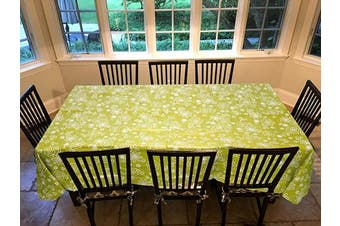 (150cm  x 230cm  Drop, Tonal Line Work - Green) - Covers For The Home Deluxe Stitched Edged Flannel Backed Vinyl Drop Tablecloth - Tonal Line Work (Green) Pattern - 150cm x 230cm - Oblong