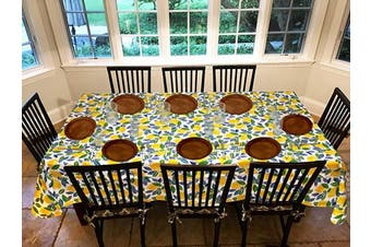 (150cm  x 300cm  Drop, Contemporary Lemon) - Covers For The Home Deluxe Stitched Edged Flannel Backed Vinyl Drop Tablecloth - Contemporary Lemon Pattern - 150cm x 300cm - Oblong