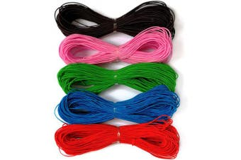 (1mm-5 colours) - Amaney 1 mm Elastic Cord Beading Threads Stretch String Fabric Crafting Cords for Jewellery Making 5 Colours