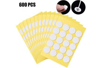 (Yellow) - BBTO 600 Pieces Candle Wick Stickers Candle Making Sticker Heat Resistance Double-Sided Stickers for Candle DIY Making (Yellow)
