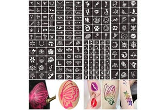 (A) - Henna Glitter Tattoo Stencils Kit, Face Body Painting Stencils, Temporary Tattoos Stencils for Kids, Adult & Teenagers (8 Sheets)