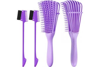 (Purple) - 2 Pieces Detangling Brush Detangler and 2 Pieces Edge Brush Double Sided Hair Comb, Clean Knots for 3a to 4c Hair Textured Kinky Wavy Curly Wet Dry Oil Matted Hair (Purple)