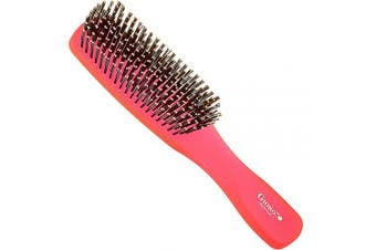 (Large, Raspberry) - Giorgio GION1R Neon Red 20cm Gentle Touch Detangler Hair Brush for Men and Women. Soft Bristles for Sensitive Scalp. Wet and Dry for all Hair Types. Scalp Massager Brush Stimulate Hair Growth