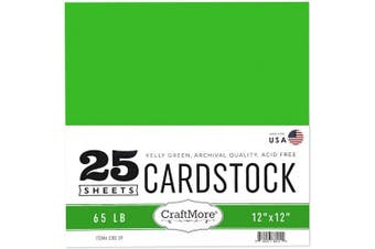 (12x12, Kelly Green) - CraftMore Card Stock Paper, 30cm by 30cm , Kelly Green, 25 Sheets