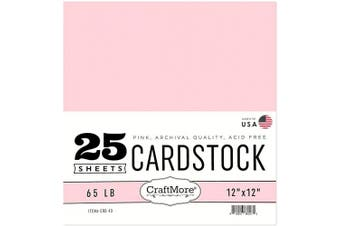 (12x12, Pink) - CraftMore Card Stock Paper, 30cm by 30cm , Pink, 25 Sheets