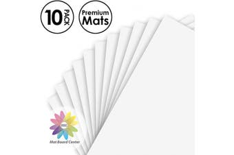 (8x10) - Mat Board Centre, Pack of 10, 8x10 Uncut White Colour Mats - Acid Free, 4-ply Thickness, White Core - for Pictures, Photos, Framing - Great for DIY Projects or Unique Picture Sizes