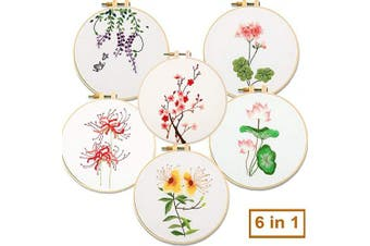 (6 In 1) - Akacraft DIY Embroidery Starter Kit, Cotton Fibric with Stamped Pattern, 6 inch Plastic Embroidery Hoop, Colour Threads, and Needles, Chinese Traditional Flowers Series-6 in 1