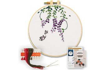 (Wisteria) - Akacraft DIY Embroidery Starter Kit, Cotton Fibric with Stamped Pattern, 15cm Plastic Embroidery Hoop, Colour Threads, and Needles, Chinese Traditional Flowers Series-Wisteria