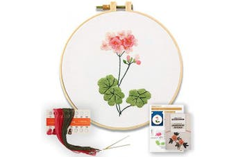 (Geranium) - Akacraft DIY Embroidery Starter Kit, Cotton Fibric with Stamped Pattern, 15cm Plastic Embroidery Hoop, Colour Threads, and Needles, Chinese Traditional Flowers Series-Geranium