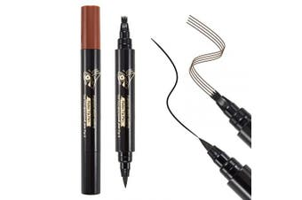 (LIGHT BROWN) - Boobeen 2-in-1 Eyebrow & Eyeliner Pencil - Waterproof Eyebrow Tattoo Pen & Long Lasting Liquid Eye Liner Pen - with a Micro-Fork Tip Applicator - Creates Natural Brows & Eye Lines Effortlessly