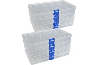 (small size-15 grids, White X 8) - DUOFIRE Plastic Organiser Container Storage Box Adjustable Divider Removable Grid Compartment for Jewellery Beads Earring Container Tool Fishing Hook Small Accessories (15 grids, White X 8)