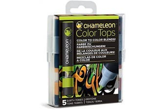 (Multicolor) - Chameleon Art Products, Earth Tones, Colour Tops, Quick and Easy Blending - Set of 5