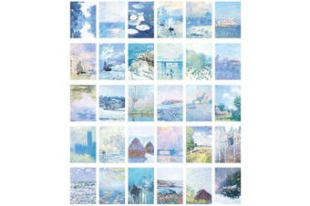 (Blue Monet) - 30 Sheets Stickers Big Size Deco Stickers for Planner Journal DIY (Blue Monet)