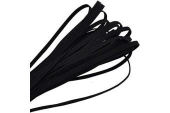 (Black) - Elastic Band,1/8 Inch Width 10 Yards 3mm Flat Elastic Bands for Sewing Crafts DIY,Braided Elastic Cord,Elastic Rope,Black