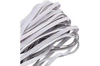 (10 Yard-1/4 inch 6 mm, White) - Elastic Band,1/4 Inch Width 10 Yards 6mm Flat Elastic Bands for Sewing Crafts DIY,Braided Elastic Cord,Elastic Rope,Heavy Stretch Knit Elastic Spool,White