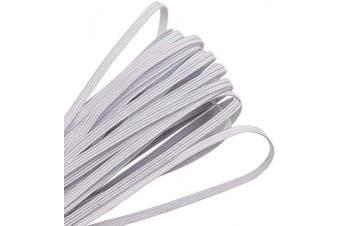 (10 Yard-1/8 inch 3 mm, White) - Elastic Band,1/8 Inch Width 10 Yards 3mm Flat Elastic Bands for Sewing Crafts DIY,Braided Elastic Cord,Elastic Rope,Heavy Stretch Knit Elastic Spool,White