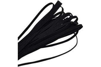 (20 Yard-1/8 inch 3 mm, Black) - Elastic Band,1/8 Inch Width 20 Yards 3mm Flat Elastic Bands for Sewing Crafts DIY,Braided Elastic Cord,Elastic Rope,Heavy Stretch Knit Elastic Spool,Black