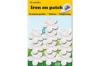 (1) - Iron On Patches - White Flower Patch 10 pcs Iron On Patch Embroidered Applique A-43