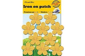 (7) - Iron On Patches - Yellow Flower Patch 10 pcs Iron On Patch Embroidered Applique A-46